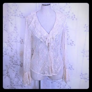 Cache blouse lace button front cream ruffle top 10